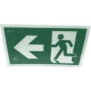 1-sided- Left-facing running man with arrow- 50 Foot Rated- No Frame