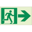 """Photoluminescent Pathmarking Exit Sign: Exit to the right-  8"""" x 4.6"""""""