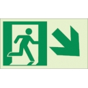 """Photoluminescent Pathmarking Exit Sign: Exit Down and to the Right-  8"""" x 4.6"""""""