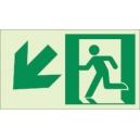 """Photoluminescent Pathmarking Exit Sign: Exit Down and to the left-  8"""" x 4.6"""""""