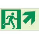 """Photoluminescent Pathmarking Exit Sign: Exit Up and to the Right-  8"""" x 4.6"""""""