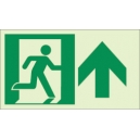 """Photoluminescent Pathmarking Exit Sign: Exit Straight Ahead and Up-  8"""" x 4.6"""""""