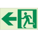 """Photoluminescent Pathmarking Exit Sign: Exit to the Left-  8"""" x 4.6"""""""