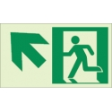 """Photoluminescent Pathmarking Exit Sign: Exit up and to the Left-  8"""" x 4.6"""""""
