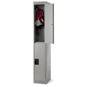 """Locker - Double Tier - 12x18x72"""" 1 Wide Grey"""