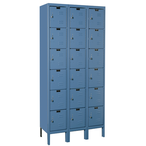 Employee Locker 12x18x72 Six Tr 3 Wide Blue