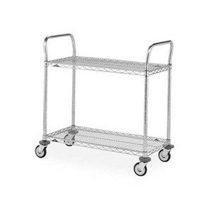 """Wire Shelf Utility Cart 18 x 36"""" 2 Shelf"""