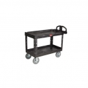 "Cart - Utility 24 x 46"" 2 Shelf w/8"" Pneu.-Black"