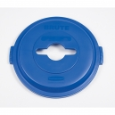 BRUTE RECYCLE Single Stream Lid - Blue for 32 Gallon